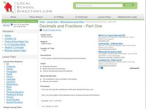 Decimal and Fractions - Part One Lesson Plan