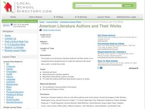 American Literature Authors and Their Works Lesson Plan