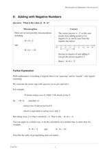 6: Adding with Negative Numbers Worksheet