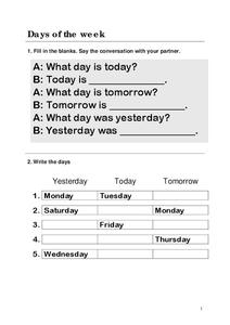 Days of the Week Worksheet for 2nd - 3rd Grade | Lesson Planet