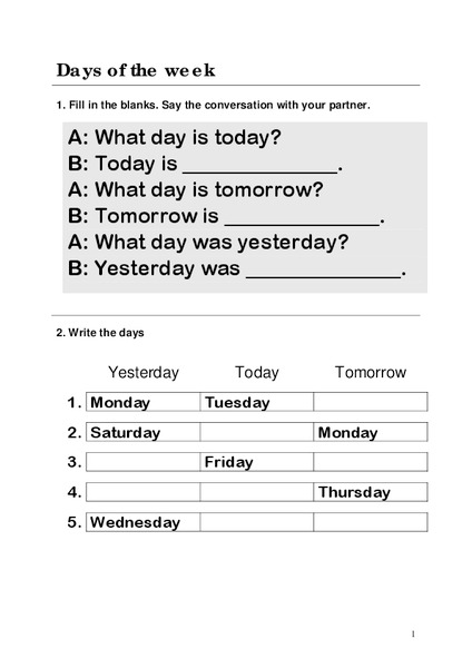 Days Of The Week Worksheet For 2nd 3rd Grade Lesson Planet