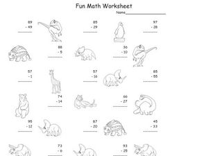Subtraction, 2 Digit Subtraction 5 Worksheet