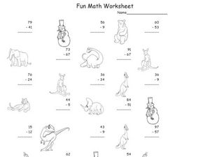 Subtraction, 2 Digit Subtraction 6 Worksheet