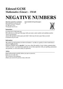 Negative Numbers Worksheet