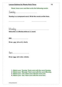 Days of the Week and Number Words Worksheet
