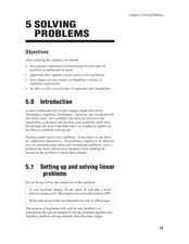 Chapter 5 Solving Problems Lesson Plan