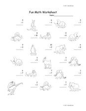 Fun Math: Add 1-Digit Numbers Worksheet