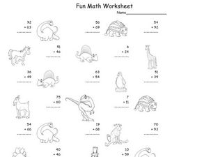 Fun Math: Add 1 and 2-Digit Numbers Worksheet