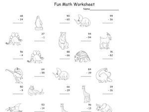 Fun Math: Subtracting 2-Digit Numbers Worksheet