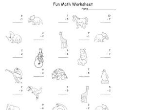 Subtraction: 1-10 #3 Worksheet