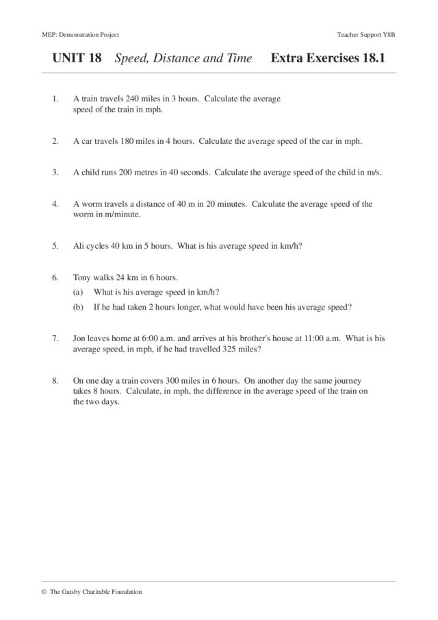 Speed Distance Time Worksheet speed time distance worksheet – Calculating Average Speed Worksheet