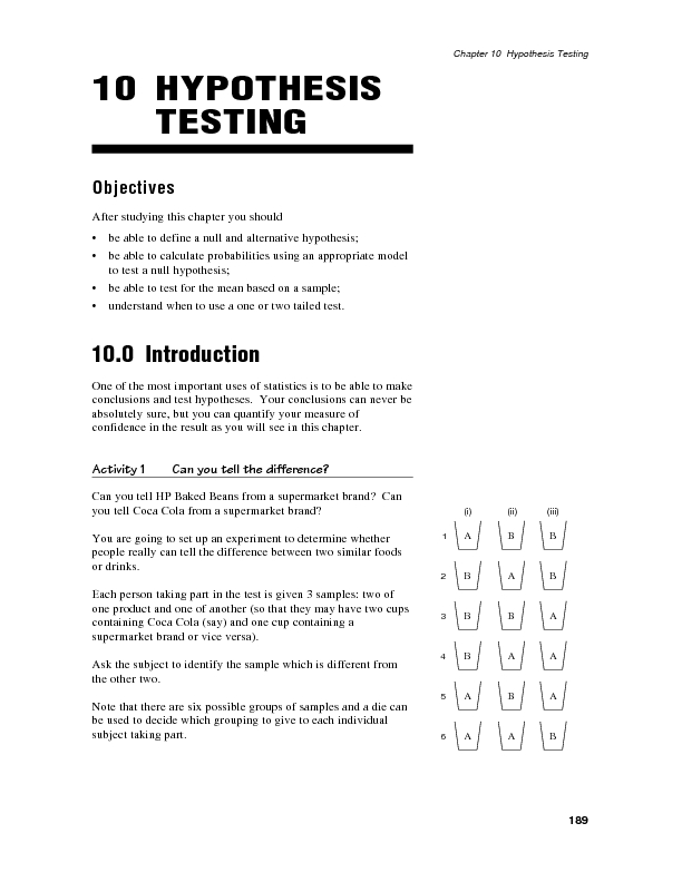 Hypothesis Testing Summary and Exercise Sets Worksheet for 11th - Higher Ed | Lesson Planet