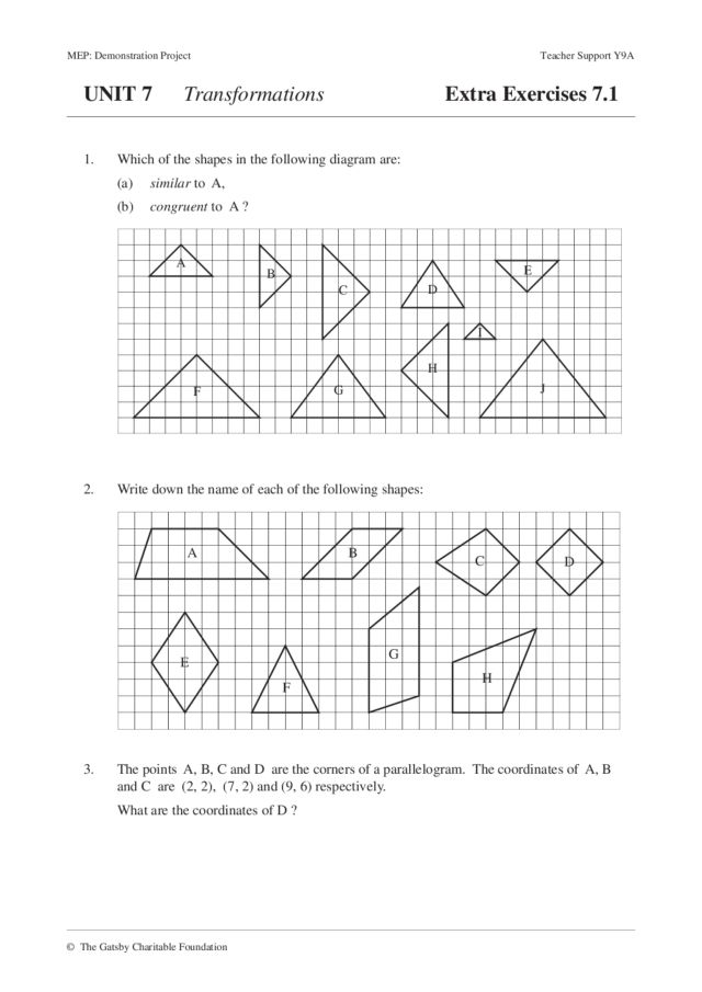 Six Exercise Sets on Transformations Worksheet for 8th