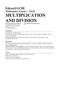 Multiplication and Division Worksheet