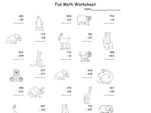 Fun Math Worksheet: Three-Digit Subtraction Worksheet
