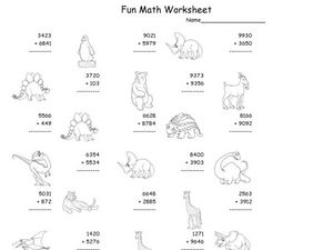Fun Math Worksheet: Four-Digit Addition Worksheet