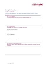 Enterprise Worksheet 2 Worksheet