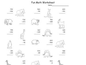 Subtraction, Multiple Digit Subtraction 2 Worksheet