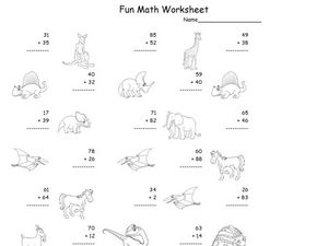 Fun Math Worksheet: 2-Digit Addition 10 Worksheet