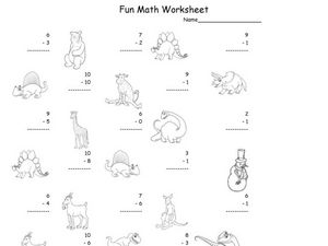 Fun Math Worksheet: 1-Digit Subtraction 7 Worksheet