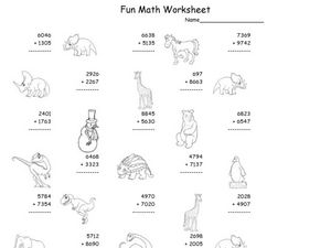 Fun Math: Adding 4-Digit Numbers Worksheet