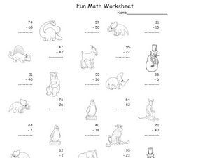Fun Math: Subtract 1 and 2 Digit Numbers Worksheet