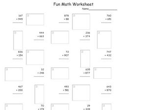 Fun Math Worksheet: Multiple Digit Addition 9 Worksheet
