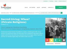 Sacred Giving: When? Lesson Plan