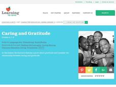 Caring and Gratitude Lesson Plan