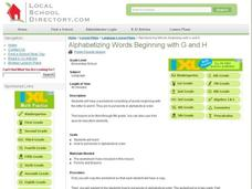 Alphabetizing Words Beginning with G and H Lesson Plan