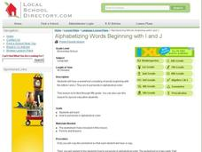 Alphabetizing Words Beginning with I and J Lesson Plan
