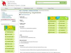 Alphabetizing Vegetables Lesson Plan