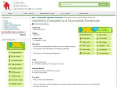 Identifying Complete and Incomplete Sentences Lesson Plan