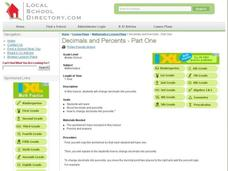 Decimals and Percents - Part One Lesson Plan