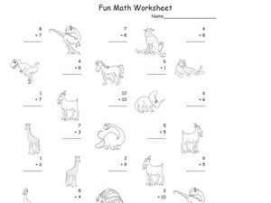 Fun Math: Adding Numbers 1-10 #2 Worksheet