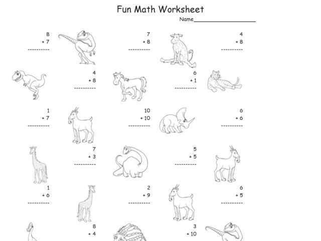 Fun Math: Adding Numbers 1-10 #2 Worksheet for 1st Grade