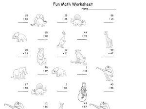 Fun Math: Adding 1 and 2-Digit Numbers #2 Worksheet