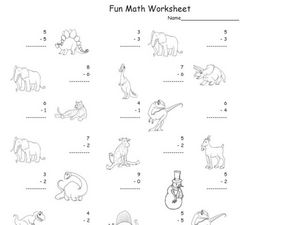 Fun Math: Subtracting Numbers 1-10 #2 Worksheet