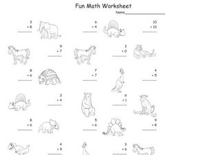 Fun Math: Adding Numbers 1-10 #6 Worksheet