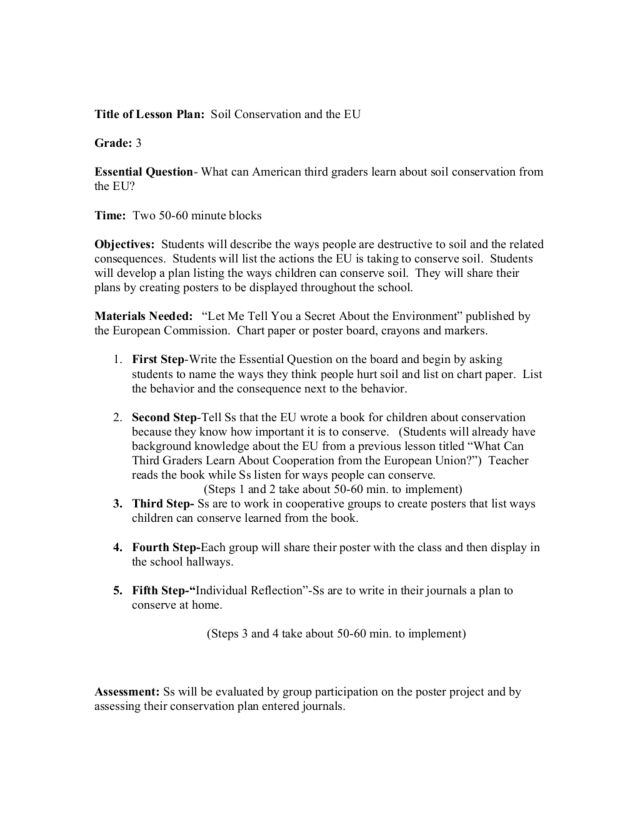 Soil Conservation Student Worksheet Answers Example