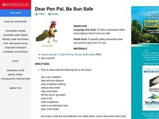 Dear Pen Pal, Be Sun Safe Lesson Plan
