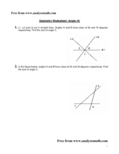 Geometry Worksheet:  Angle (4) Worksheet