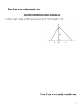 Geometry Worksheet:  Right Triangle Worksheet