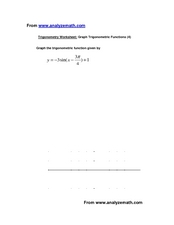 Graphing One Sin Trig Function Worksheet