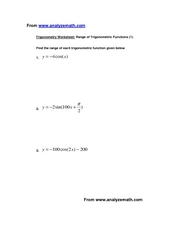 Range of Trigonometric Functions Worksheet