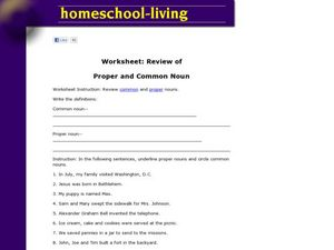 Review of Proper and Common Nouns Worksheet