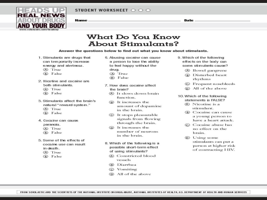 Workbooks substance use worksheets : Stimulant Addiction Worksheet for 8th - 10th Grade   Lesson Planet
