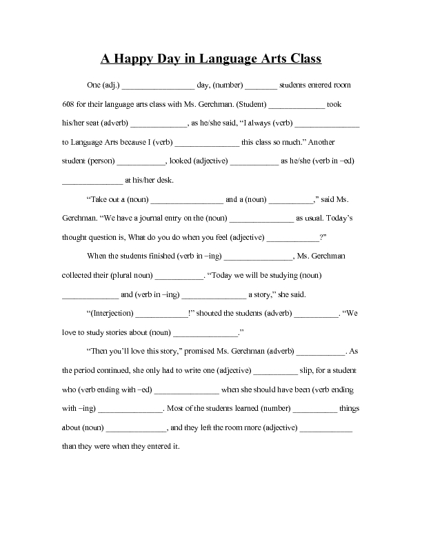 Mad Libs Worksheets For 4th Grade llamadirectory – Mad Libs Worksheets