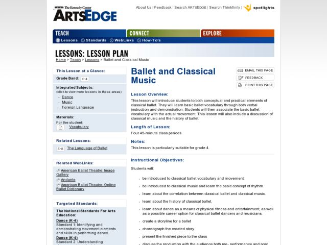 Ballet and Classical Music Lesson Plan