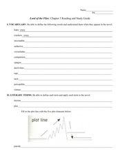 Reading and Study Guide: Lord of the Flies Chapter Three Worksheet